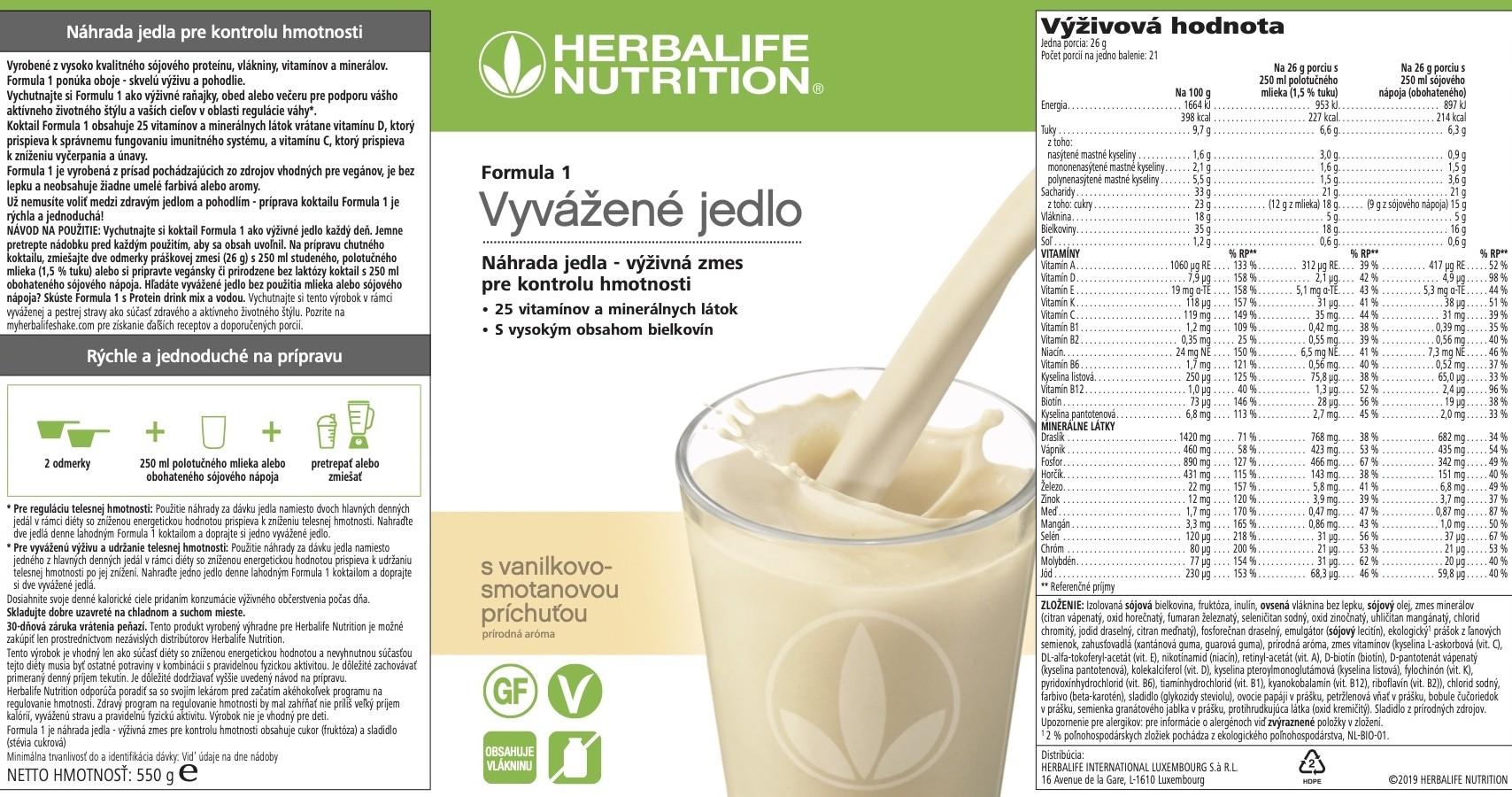 Formula 1 koktail vanilka-smotana vyzivova hodnota
